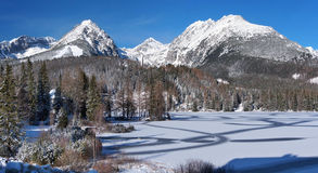 Frozen Strbske Pleso in High Tatras Stock Images