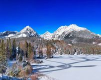 Frozen Strbske Pleso Tarn, High Tatras, Slovakia stock photo