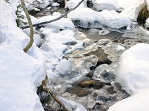 Frozen stream. In Canada in Winter Stock Image
