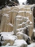 Frozen stream ice fall. Winter forest view with frozen forest stream icefall Royalty Free Stock Photo