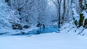 Free Frozen Stream Really Blue Water Snow Royalty Free Stock Photo - 117721885