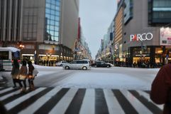 Frozen street in Sapporo Stock Photos