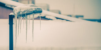 Frozen streetlight with icicles. On a cold winter day Stock Photo
