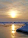 Frozen and sunny lake Royalty Free Stock Photo