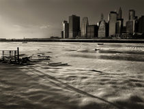 Frozen Sunset. The last sun beams over the snow in Brooklyn Promenade Royalty Free Stock Images