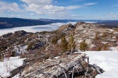 Frozen surface Lake Laberge spring Yukon Canada Royalty Free Stock Photography