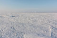 Frozen surface of the river, a place for winter fishing Royalty Free Stock Photography