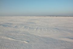 Frozen surface of the river, a place for winter fishing Stock Images