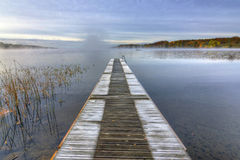 Frozen Swedish bridge in October month Royalty Free Stock Photo