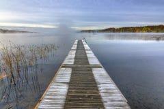Frozen Swedish bridge in October month Royalty Free Stock Photo
