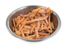 Frozen sweet potato french fries in bowl Royalty Free Stock Images