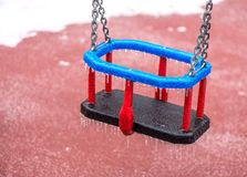 Frozen swing with icicles