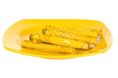 Frozen Tacos On Yellow Plate Stock Image