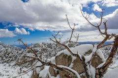 Frozen. Taken during one day trip to Peak Tulove Grede, mountain Velebit in Croatia. Combination of snow, rock and blue sky covered with white clouds. Sun was Royalty Free Stock Photography