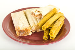 Frozen Tamales And Tacos On Plate Stock Images
