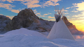 Frozen Teepee. Digital rendering of a Frozen Teepee in the mountains Royalty Free Stock Photos