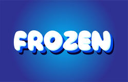 Frozen text 3d blue white concept vector design logo icon Royalty Free Stock Photos