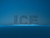 Frozen text ice with ice cubes Royalty Free Stock Photography