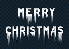 Frozen text merry christmas. On transparent background. Inscription happy holidays with icicles Stock Photography