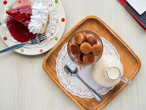Frozen thai tea in glass and fresh milk Royalty Free Stock Photos