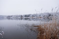 Frozen thawing lake in snow landscape Royalty Free Stock Photography