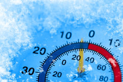 Frozen thermometer. Image of a thermometer showing winter cold Royalty Free Stock Image