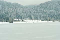 Frozen Thiersee lake in winter time Stock Images