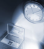 Frozen time. Clock on wall and a laptop - frozen effect stock illustration