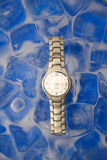 Frozen time. A stainless steel wrist watch on ice cubes Royalty Free Stock Photography