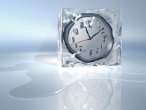 Frozen time. A clock frozen in ice cube - rendered in 3d Stock Images
