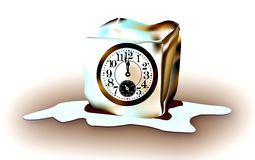 Frozen of Time. Clock Freezed In An Ice Cube (Vectorial Version Available Stock Images