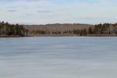 Frozen Tobyhanna lake. In Tobyhanna state park, Pennsylvania stock photo