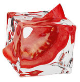 Frozen tomato. In ice cube Royalty Free Stock Image