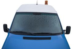 Frozen transporter windshield Stock Photo
