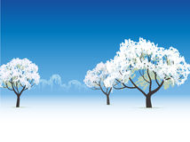 Frozen tree snow covered. Vector winter view frozen tree snow covered Royalty Free Stock Images