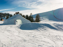Frozen tunnel, snowpark in dolomites mountains Royalty Free Stock Photography