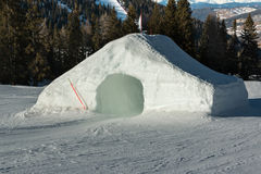 Frozen tunnel, snowpark in dolomites mountains. The alps Royalty Free Stock Image