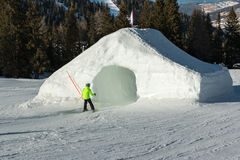 Frozen tunnel, snowpark in dolomites mountains. The alps Royalty Free Stock Photos