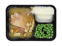 Frozen Turkey Meal Black Tray Stock Photo