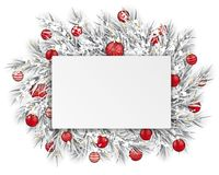 Frozen Twigs Rectangle Paper Thin Ribbon Snow Red Baubles Stock Photos