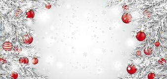 Frozen Twigs Red Baubles Snowfall Header Stock Images