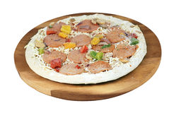Frozen uncooked pizza Stock Photo