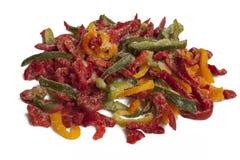 Frozen varicoloured sweet pepper Stock Images