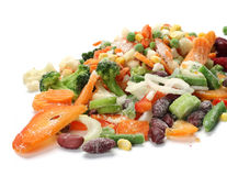 Frozen vegetables. Frozen mixed vegetables with ice Stock Photography
