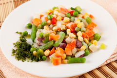 Frozen vegetables. Close up of a mix of frozen vegetables ready to be cooked Stock Images