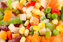 Frozen vegetables. Close up of a mix of frozen vegetables ready to be cooked Stock Photos