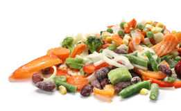 Frozen vegetables. Frozen mixed vegetables in white background Stock Images