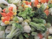 Frozen Vegetables. In macro close up. You can see the icing on the broccoli and carrots stock photo