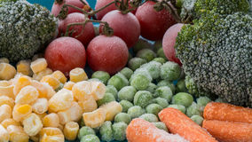 Frozen vegetables  broccoli, cherry tomatoes, corn, pea, carrot. Frozen vegetables, freezer food, macro Stock Photography