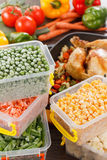Frozen vegetables and fried chicken, paleo diet food. Frozen vegetables in plastic containers, fried chicken in pan. Healthy paleo diet food and meals Royalty Free Stock Image